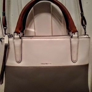 Authentic Coach White/ Grey Calf Leather Handbag/
